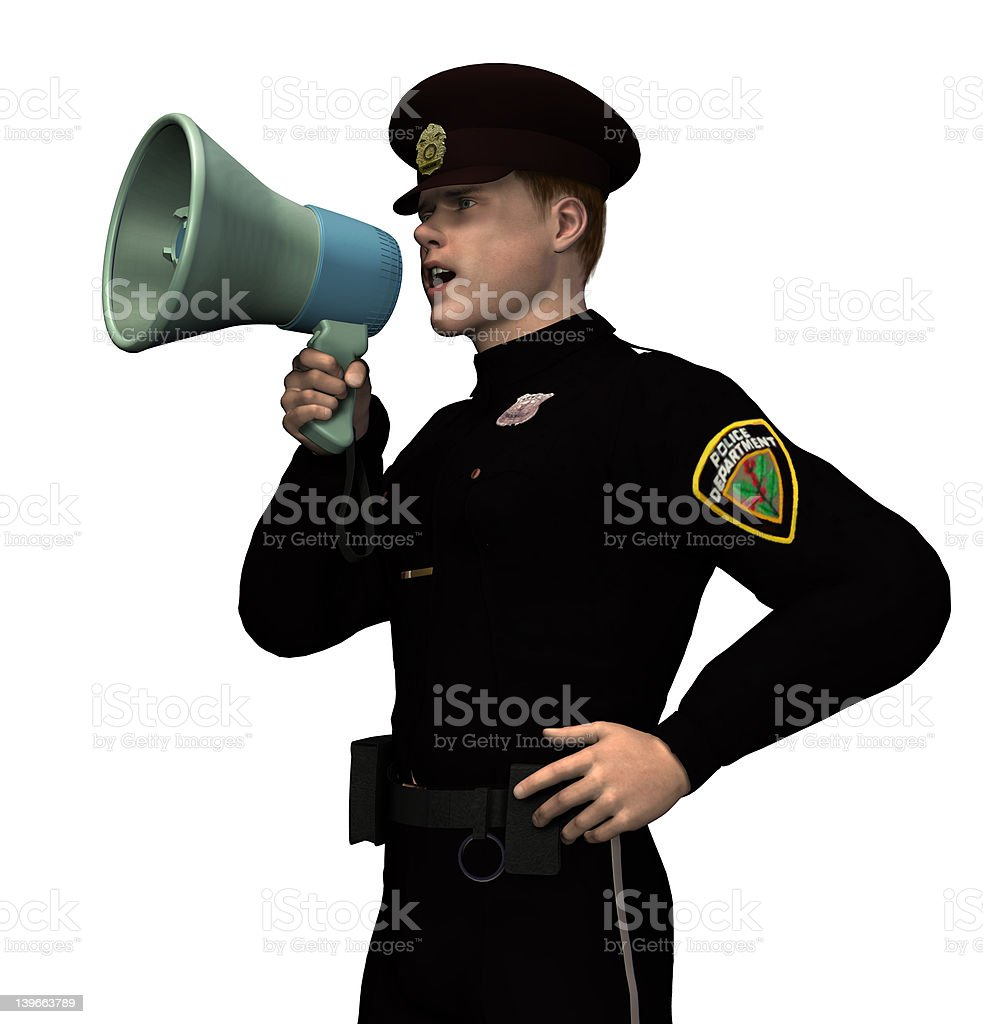 Policeman with Megaphone - includes clipping path royalty-free stock photo