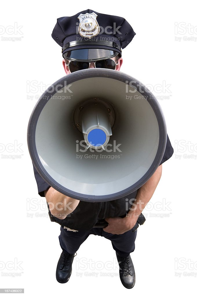 Policeman with Megaphone royalty-free stock photo