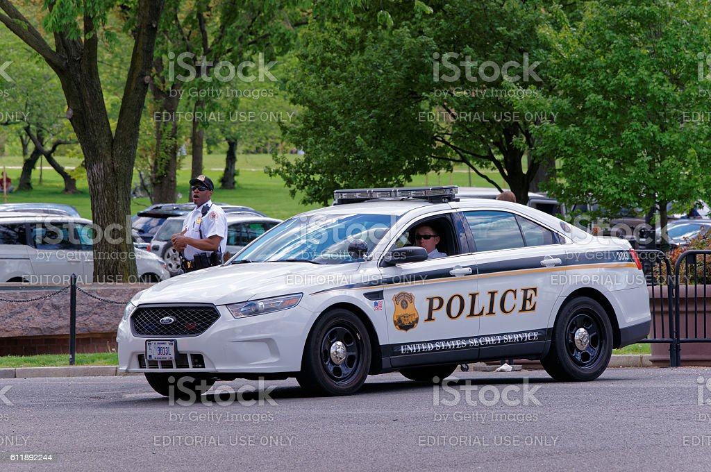 Policemen and their car serving in Washington DC stock photo
