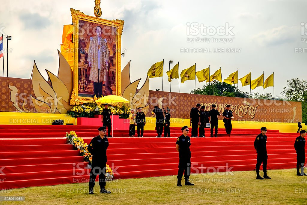 Policemen are guarded by the scene,Sanam Luang, Bangkok, Thailand stock photo