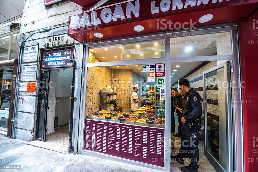 Policemen buying food in a cafe, Istanbul stock photo