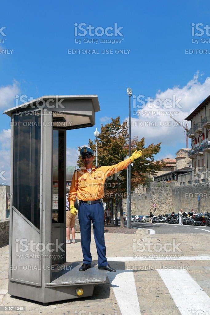 Policemen in San Marino, Italy stock photo