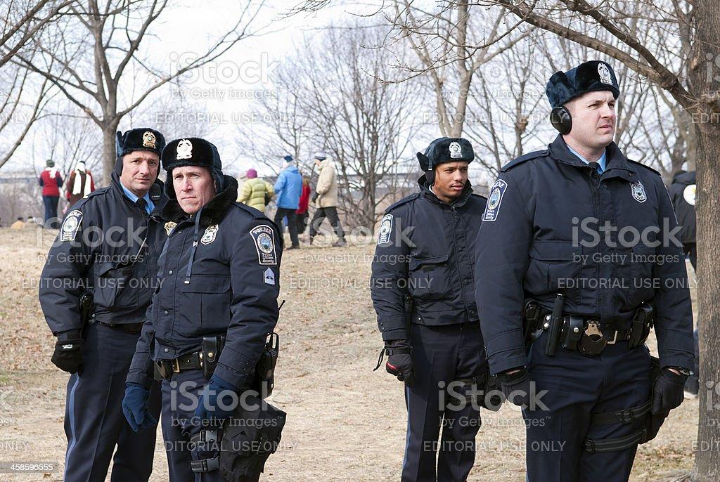 Policemen in winter stock photo