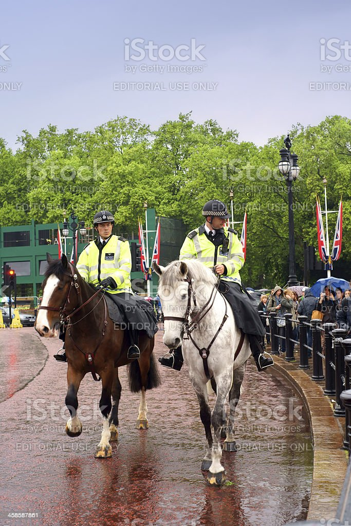 Policemen on horses in London stock photo