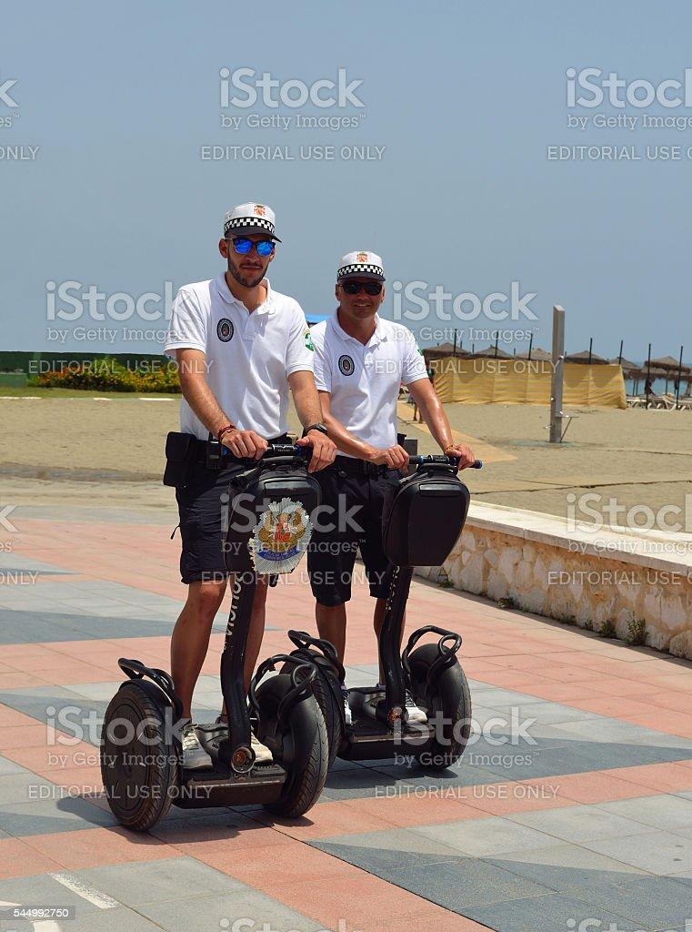Policemen on Segways. stock photo