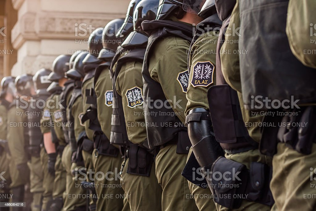 Policemen waiting for the crowd stock photo