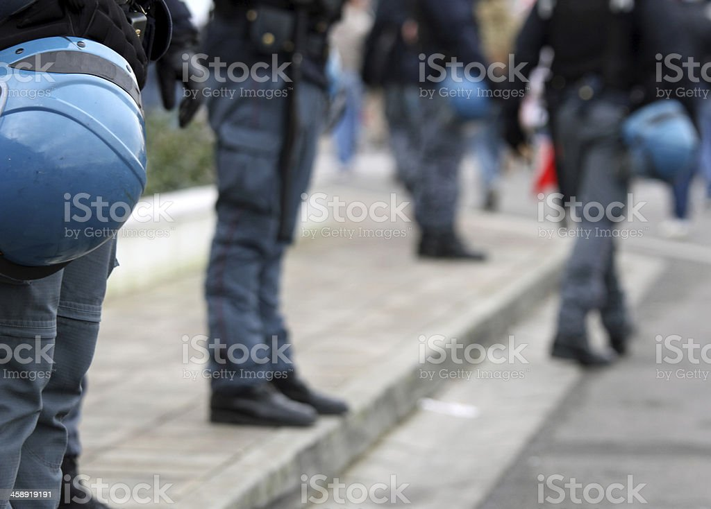 policemen with helmet during the show around town stock photo
