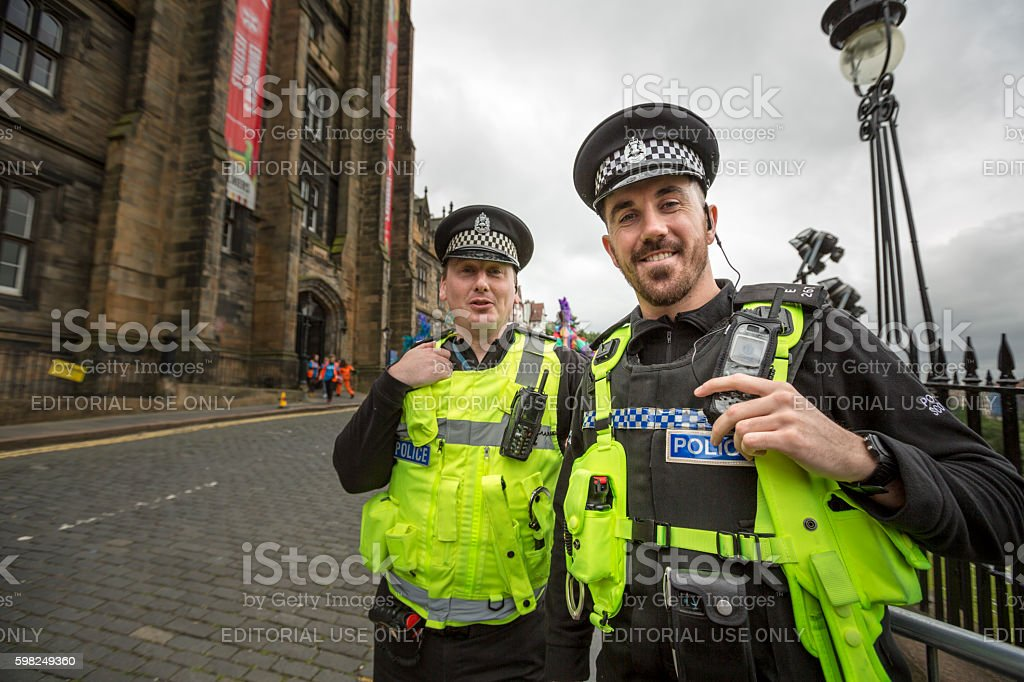Policement at the Jazz and Blues Festival Parade, Edinburgh stock photo
