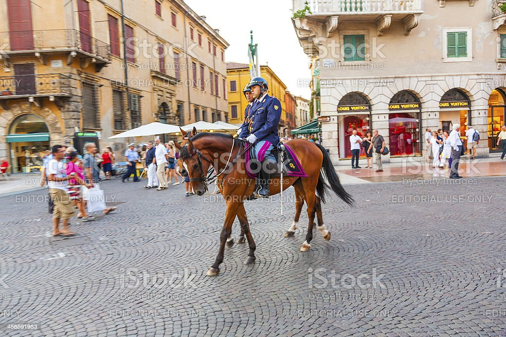 policenmen with horses  watch the scenery stock photo