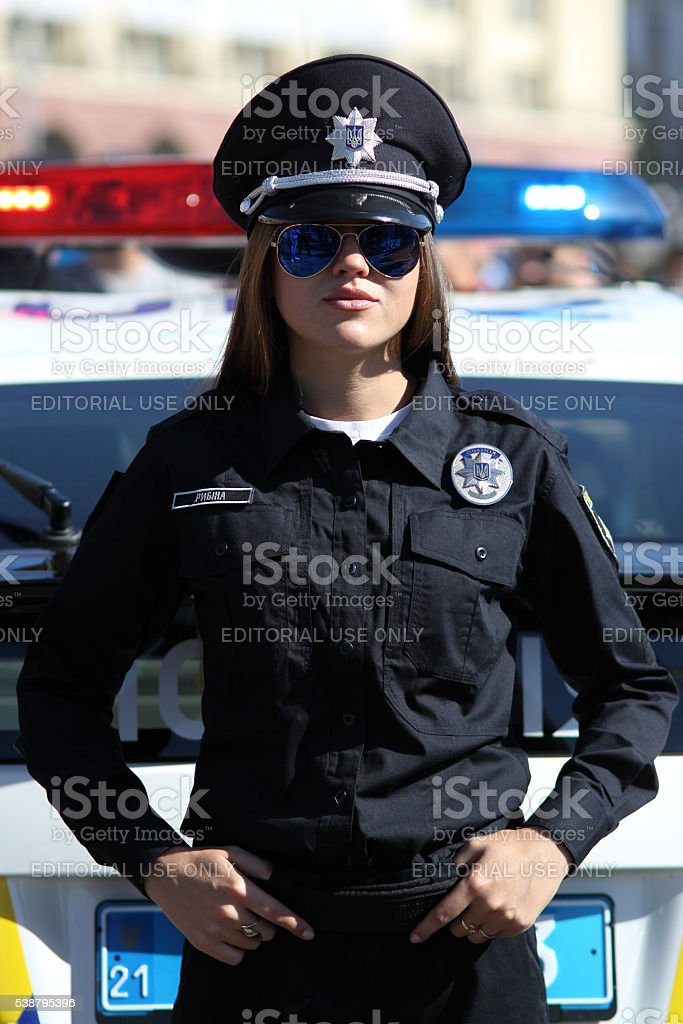Policewoman during official ceremony stock photo