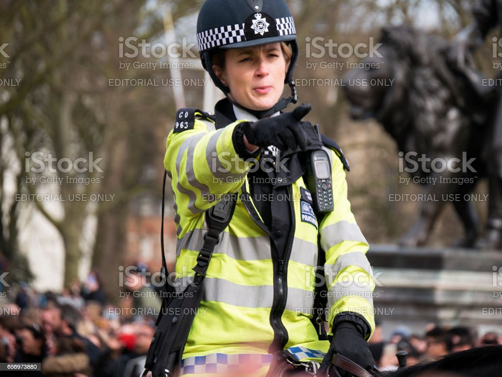 LONDON policewoman on horseback at Buckingham Palace stock photo