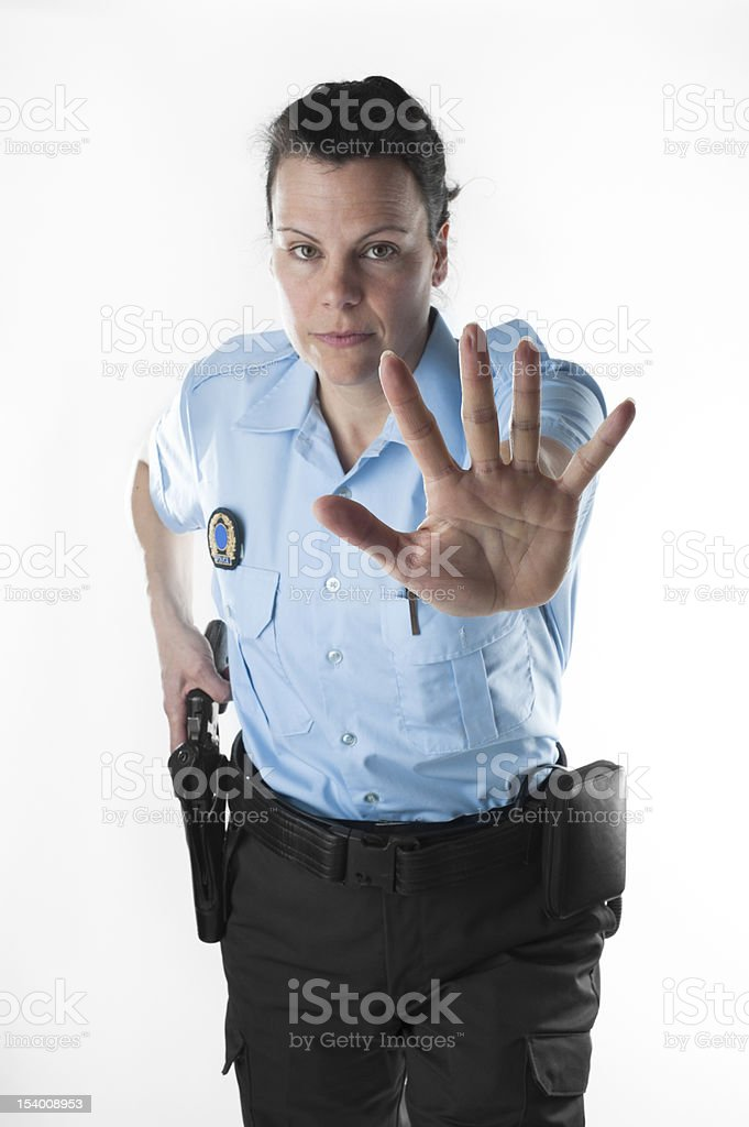 Policewoman warning you royalty-free stock photo