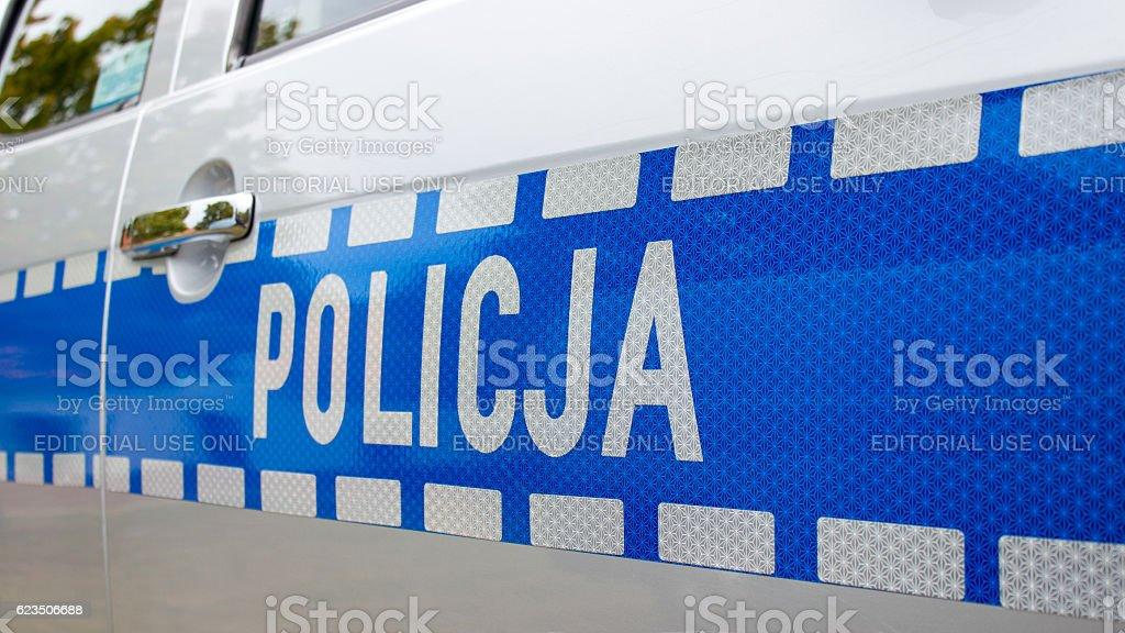 Policja - sign Polish police on the car. stock photo
