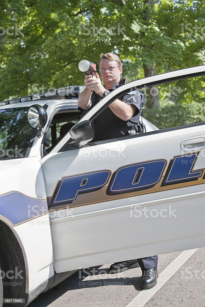 Policman Radar Gun stock photo