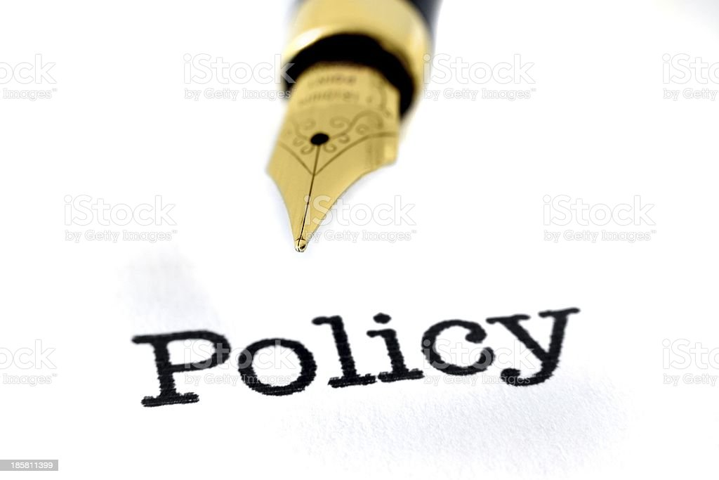 Policy and pen royalty-free stock photo