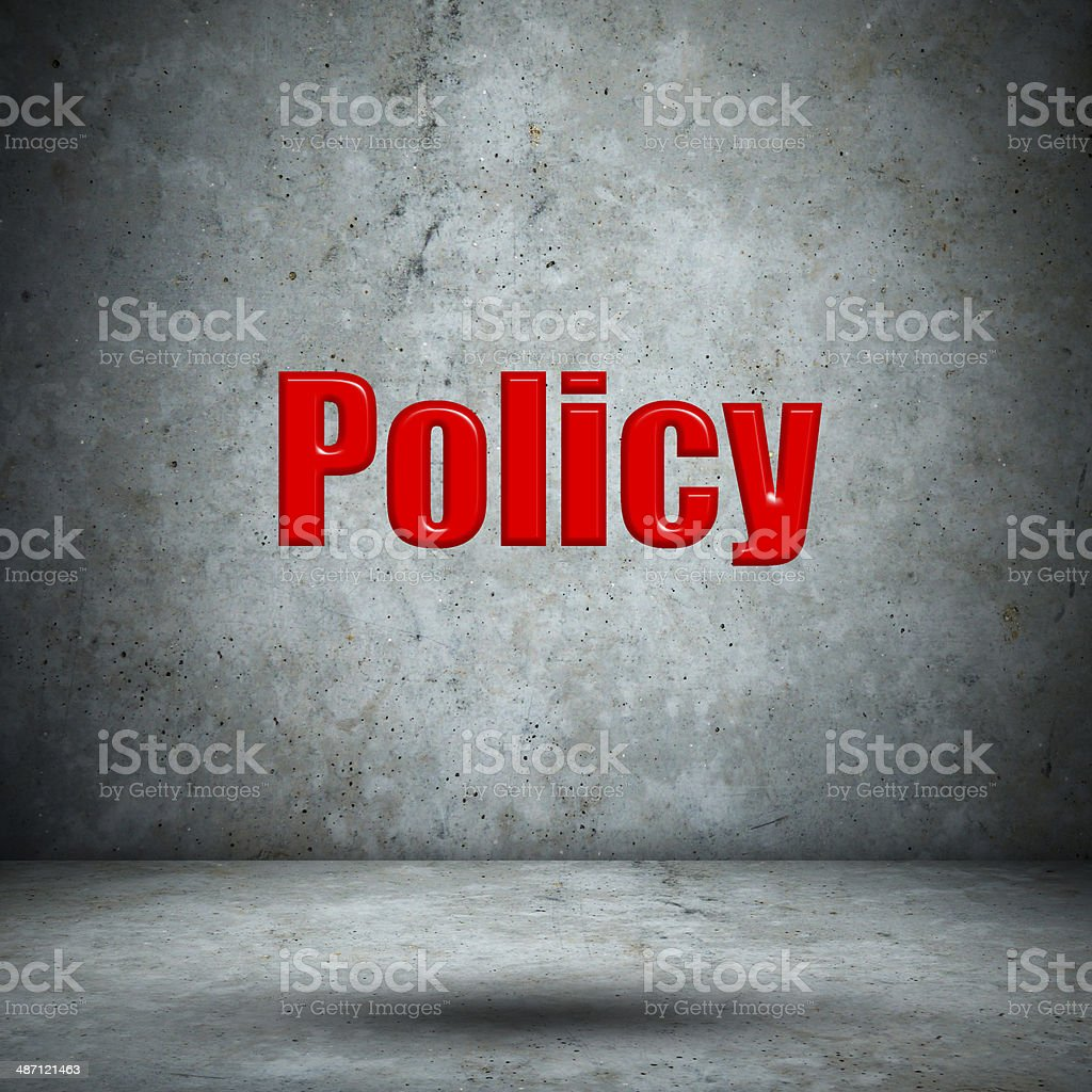 Policy concrete wall stock photo