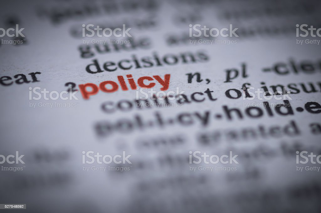 policy definition stock photo
