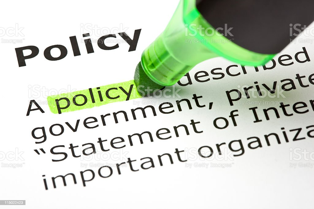 'Policy' highlighted in green royalty-free stock photo