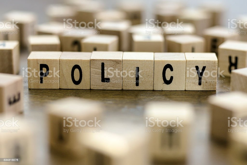 Policy word stock photo