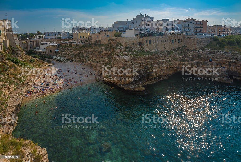 Polignano a Mare, scenic town in Puglia, Southern Italy stock photo