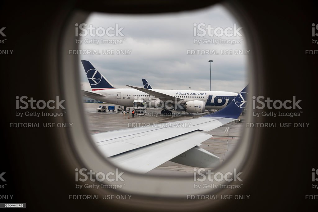 LOT Polish Airlines at Warsaw Chopin Airport stock photo