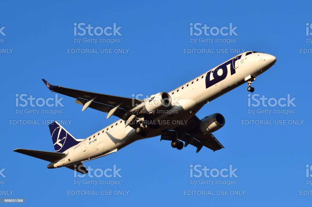 LOT Polish Airlines Embraer ERJ-195 stock photo