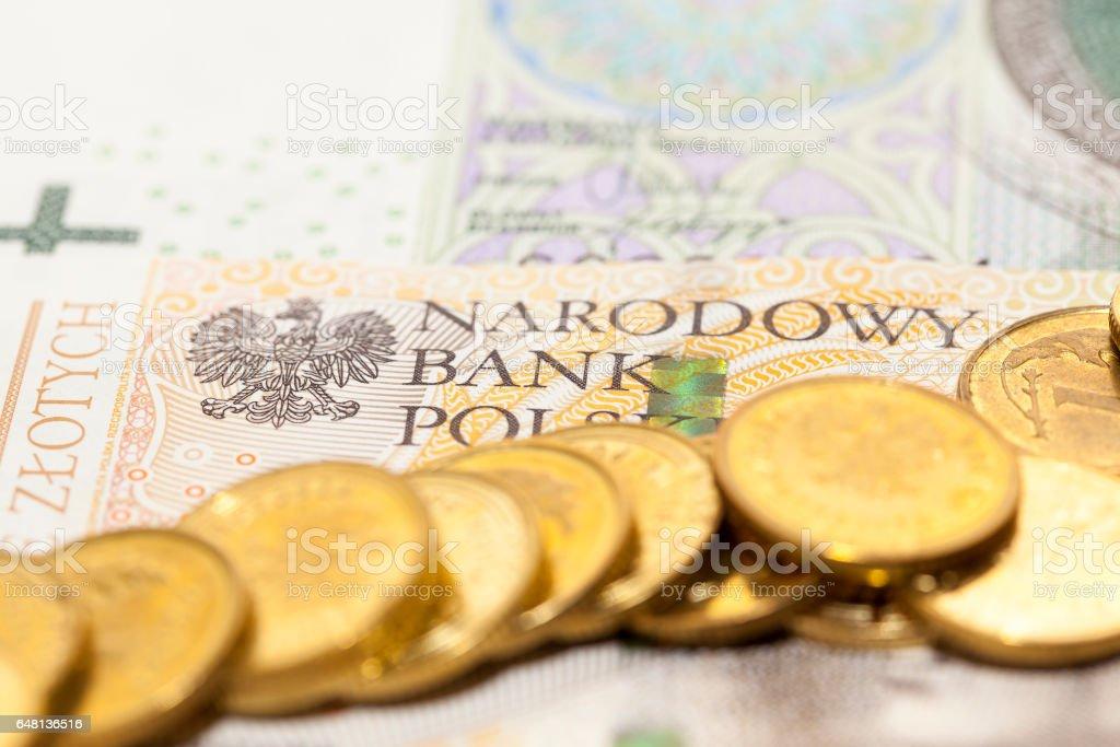 Polish banknotes, close-up stock photo