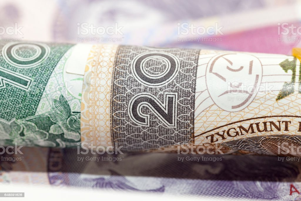 Polish banknotes, close-up stock photo