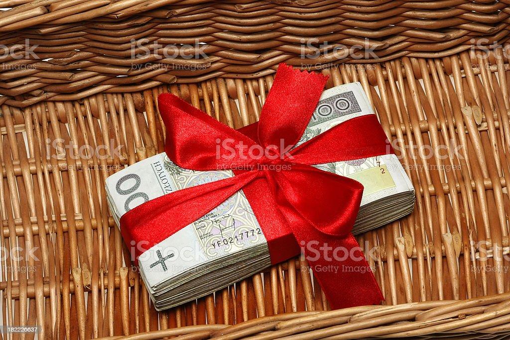 Polish Banknotes with Ribbon basket wicker royalty-free stock photo