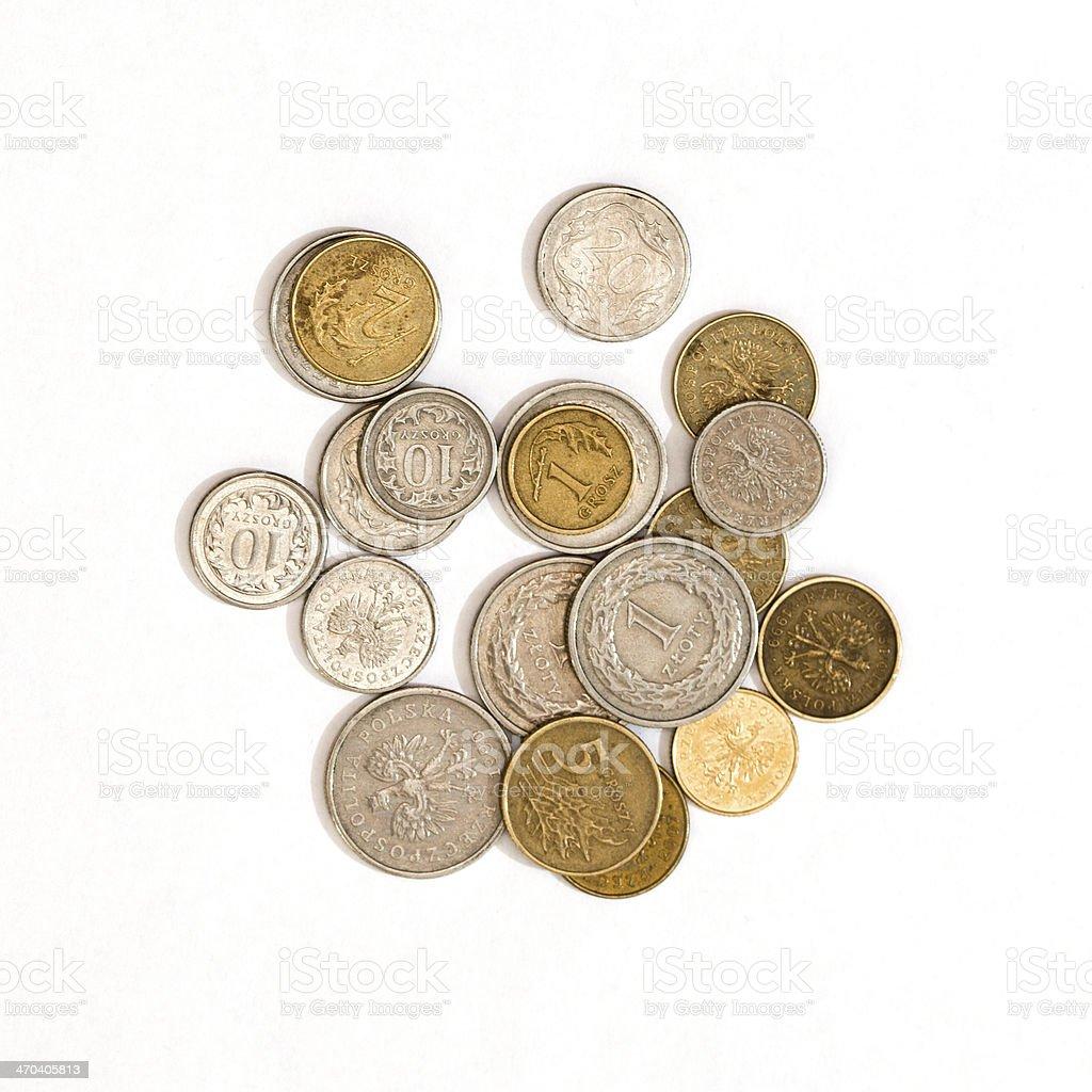Polish Coins Isolated on White stock photo