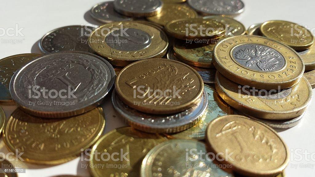 Polish coins - zloty, PLN stock photo
