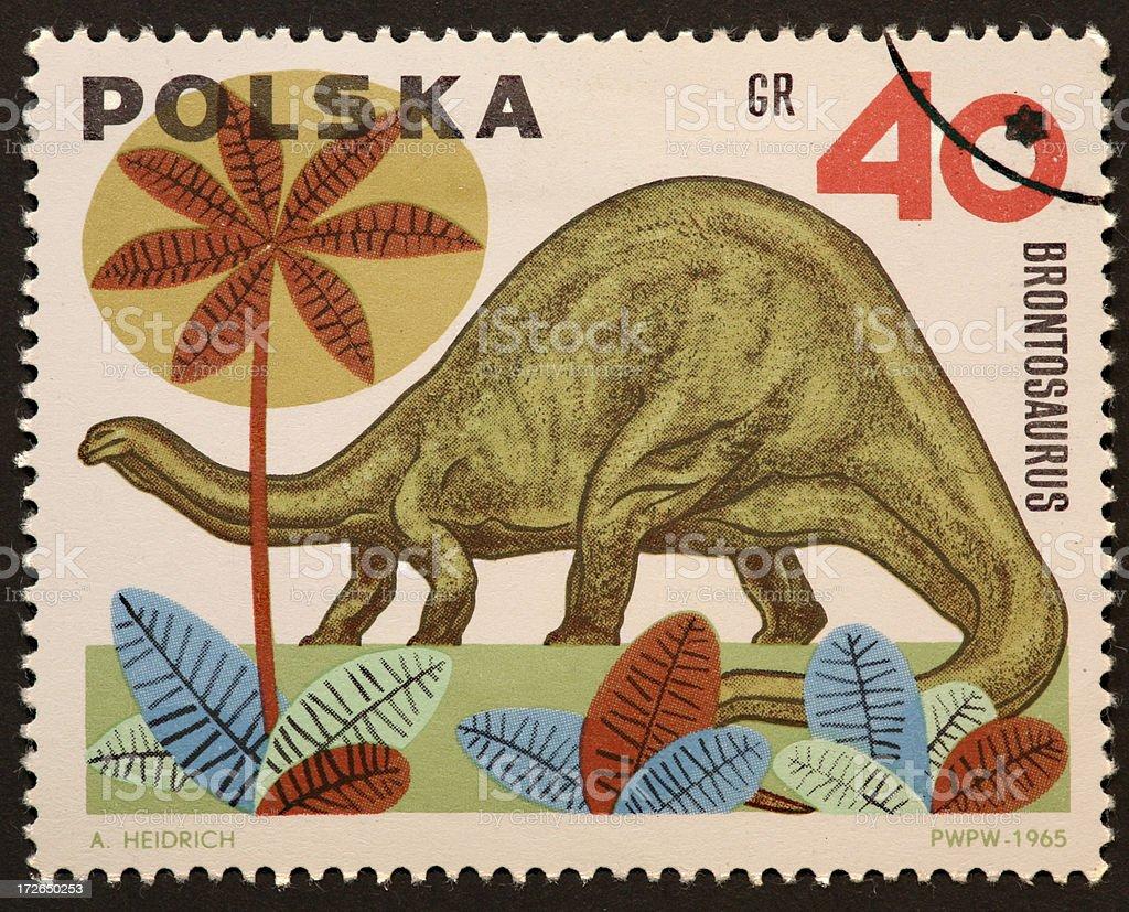 Polish dinosaur stamp stock photo