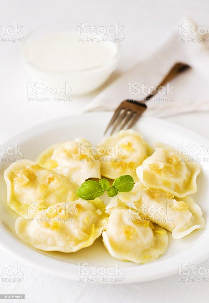 Polish Dumplings on Plate stock photo