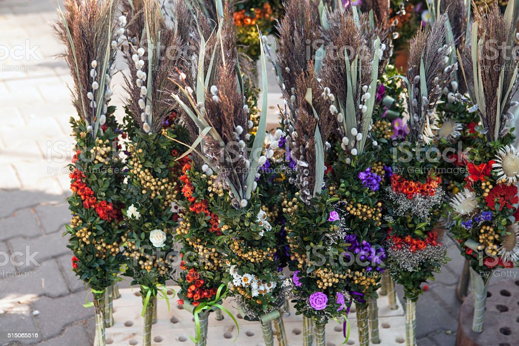Polish Easter palms stock photo