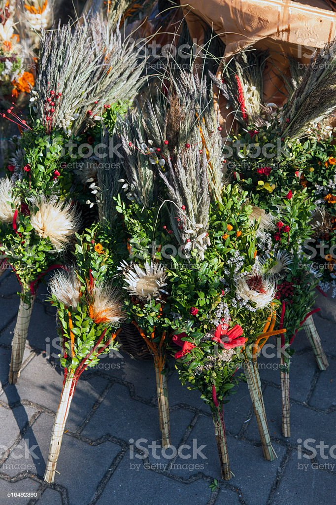 Polish Easter palms stock photo