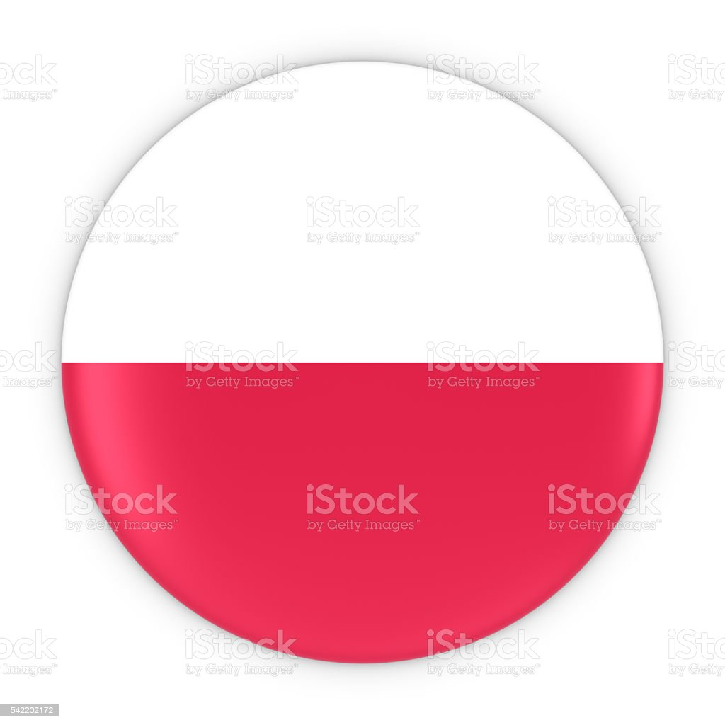 Polish Flag Button - Flag of Poland Badge 3D Illustration stock photo