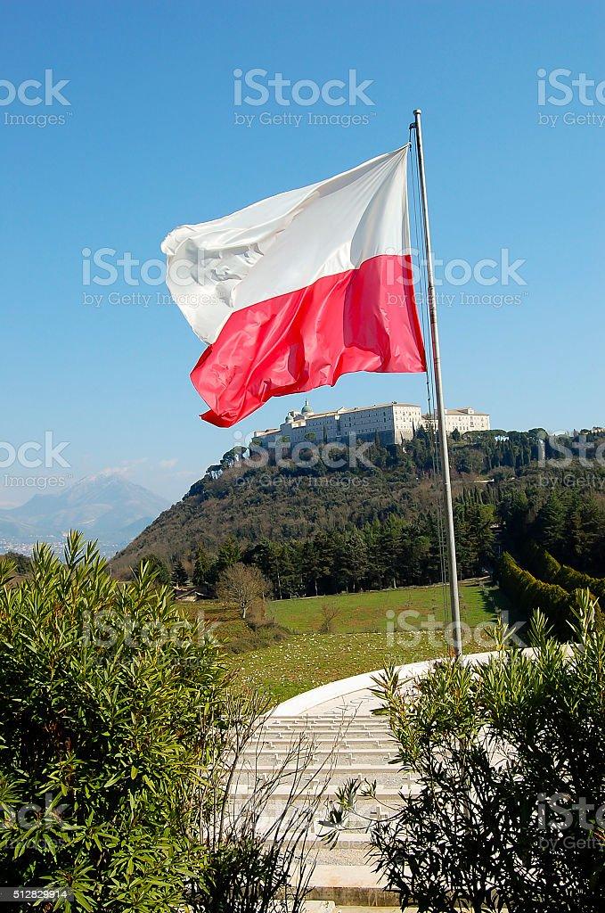 Polish Flag in WWII Cemetary - Monte Cassino - Italy stock photo