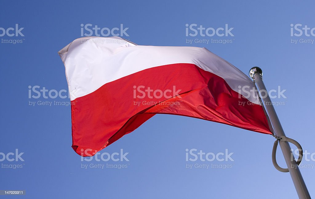 polish flag waving on the wind royalty-free stock photo