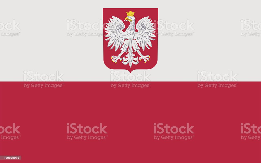 Polish flag with coat of arms. stock photo