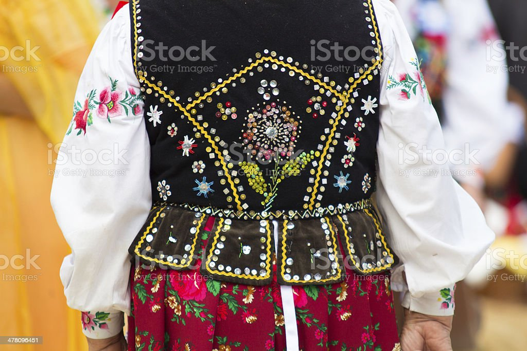 Polish folk costumes stock photo