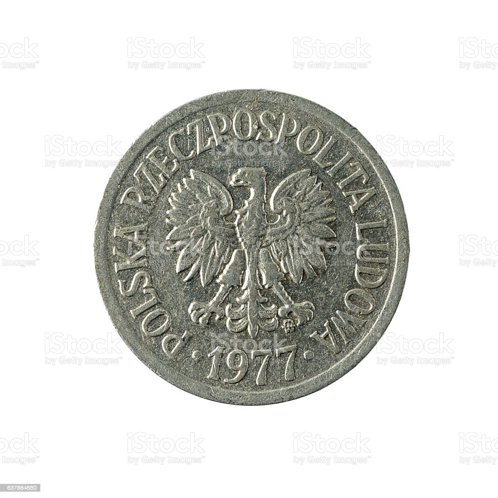 20 polish groszy coin (1977) isolated on white background stock photo