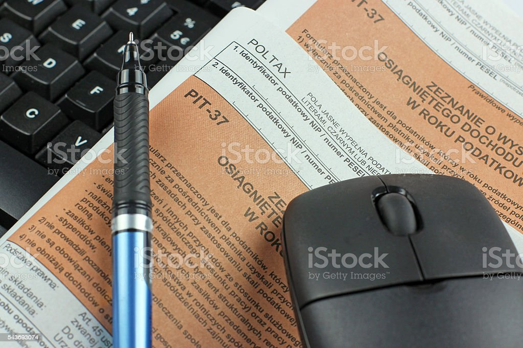 Polish income tax PIT-37 and PIT-0 stock photo