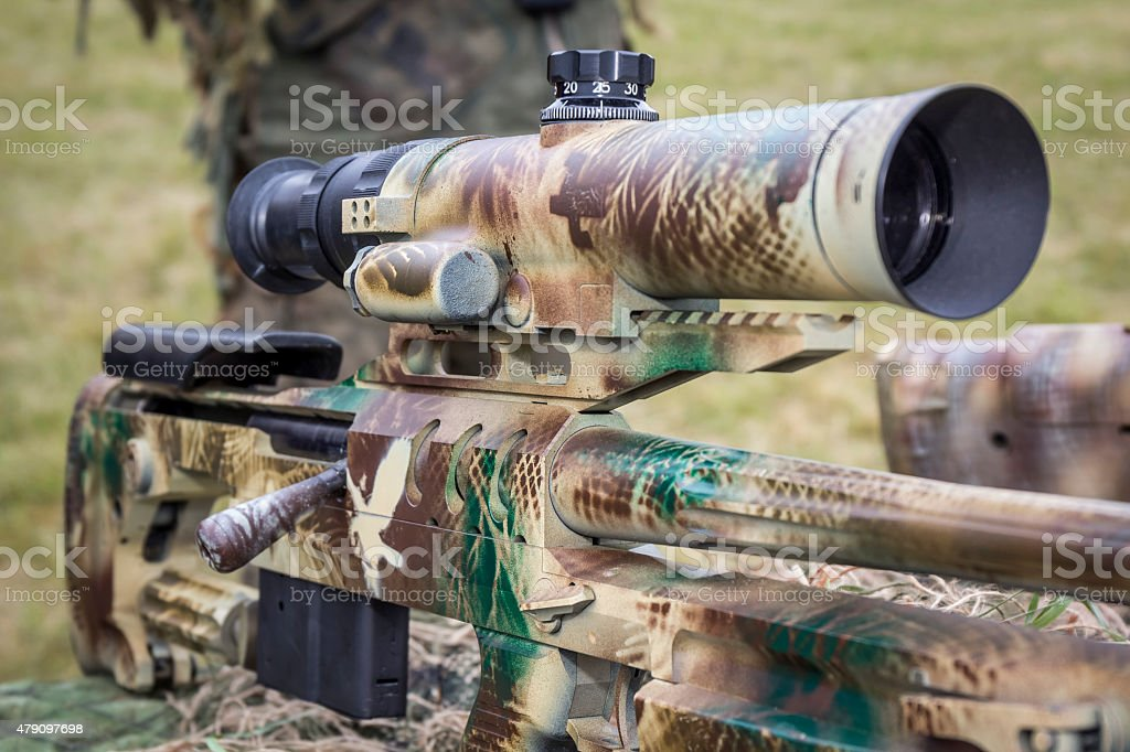 Polish military sniper rifle BOR stock photo