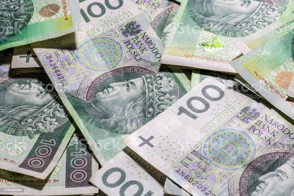 Polish money background stock photo