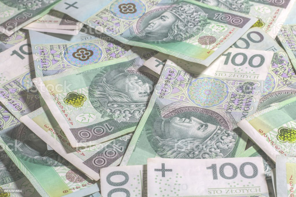 Polish money background. stock photo