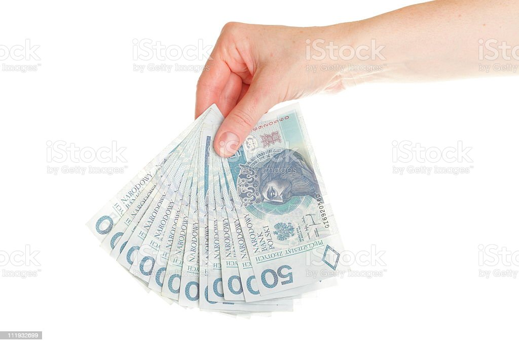 Polish money isolated in hand royalty-free stock photo