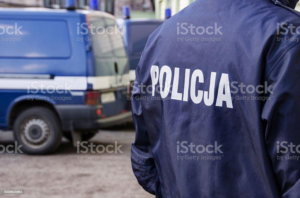 Polish Police sign stock photo