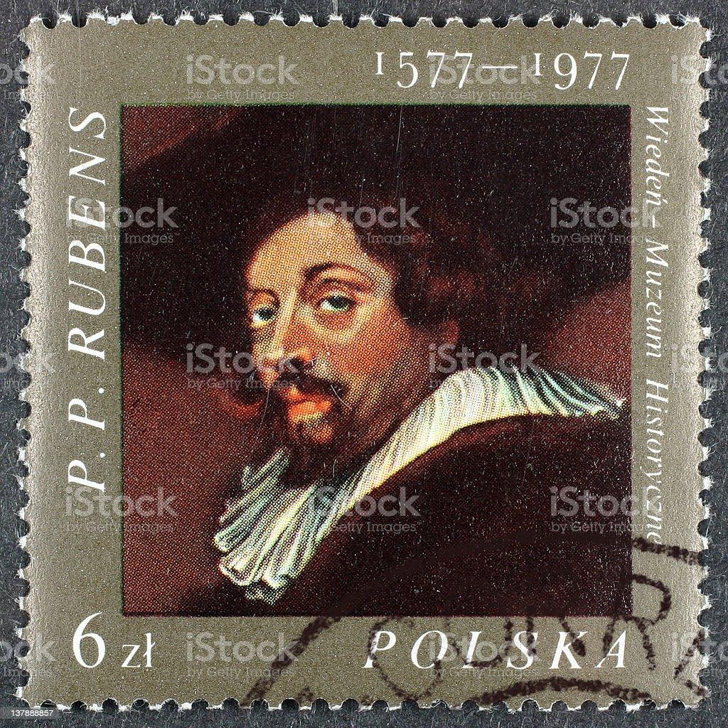 Polish postage stamp stock photo