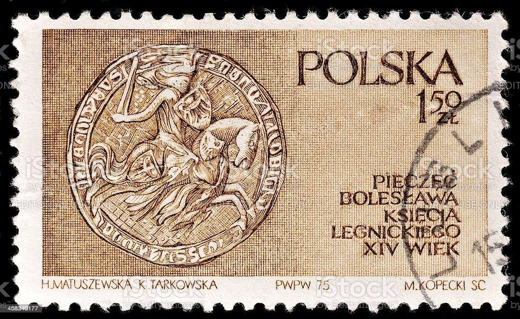 Polish Postage Stamp royalty-free stock photo