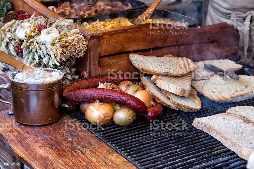 Polish regional cuisine on the market stall stock photo